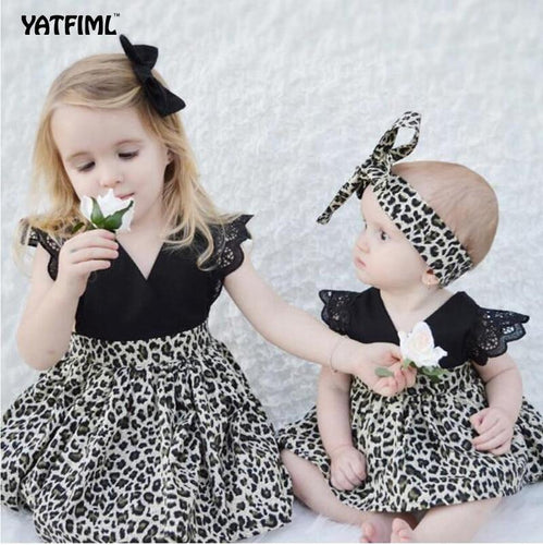 Beiby Bamboo Sibling Matching little sister / 3M Sibling Matching Leopard Dress