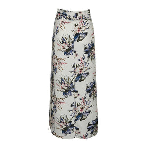 Beiby Bamboo Skirts White with print / S High Waist Floral Prints Vintage Maxi Slim Skirts