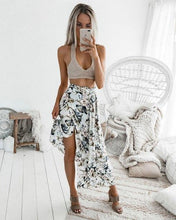 Load image into Gallery viewer, Beiby Bamboo Skirts White with print / S High Waist Floral Prints Vintage Maxi Slim Skirts