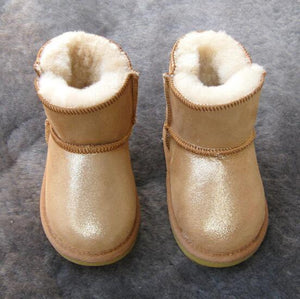 Beiby Bamboo snow boots U gold / 5 Unisex Shiny Snow Ankle Boots For Kids