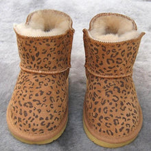 Load image into Gallery viewer, Beiby Bamboo snow boots U Leopard / 5 Unisex Shiny Snow Ankle Boots For Kids