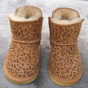 Beiby Bamboo snow boots U Leopard / 5 Unisex Shiny Snow Ankle Boots For Kids