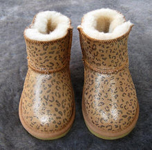 Load image into Gallery viewer, Beiby Bamboo snow boots U shiny Leopard / 5 Unisex Shiny Snow Ankle Boots For Kids