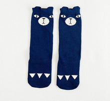 Load image into Gallery viewer, Beiby Bamboo socks blue bear / 0 to 1 year Cartoon Unisex Knee High Boot Socks