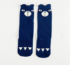 Beiby Bamboo socks blue bear / 0 to 1 year Cartoon Unisex Knee High Boot Socks