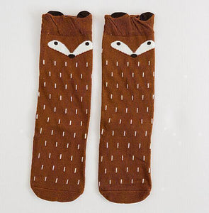 Beiby Bamboo socks fox brown socks / 0 to 1 year Cartoon Unisex Knee High Boot Socks