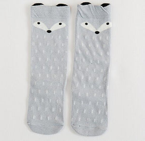 Beiby Bamboo socks fox grey socks / 0 to 1 year Cartoon Unisex Knee High Boot Socks