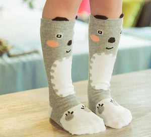 Beiby Bamboo socks gray bear / 0 to 1 year Cartoon Unisex Knee High Boot Socks