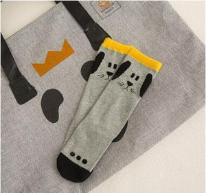 Beiby Bamboo socks grey dog / 0 to 1 year Cartoon Unisex Knee High Boot Socks