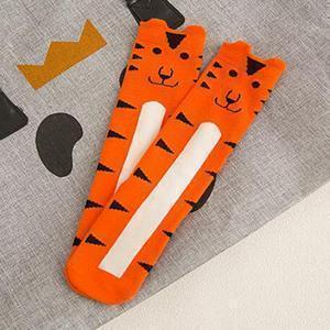 Beiby Bamboo socks tiger / 0 to 1 year Cartoon Unisex Knee High Boot Socks