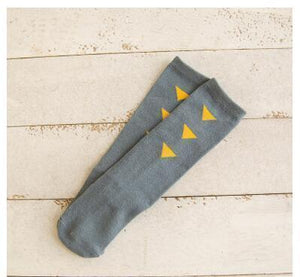 Beiby Bamboo socks Triangle grey / 0 to 1 year Cartoon Unisex Knee High Boot Socks