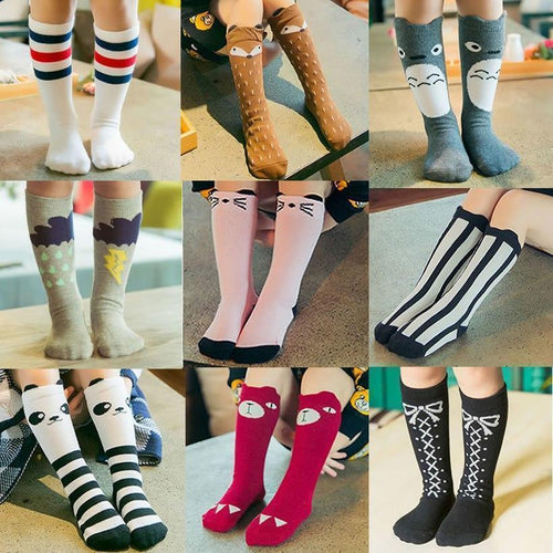 Beiby Bamboo socks vertical Article / 0 to 1 year Cartoon Unisex Knee High Boot Socks