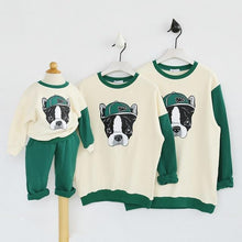 "Load image into Gallery viewer, Beiby Bamboo sweaters Green / kid 2Pieces 18M Family Matching Outfits "" Bull Dog"""
