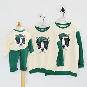 "Beiby Bamboo sweaters Green / kid 2Pieces 18M Family Matching Outfits "" Bull Dog"""