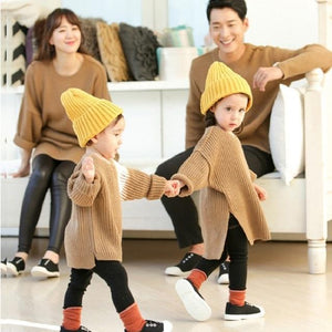 Beiby Bamboo sweaters Khaki / dad S Family Matching Long Sweaters