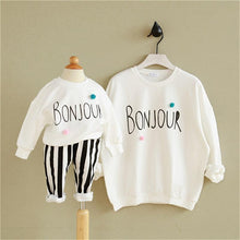 "Load image into Gallery viewer, Beiby Bamboo sweaters White / Mom One Size Mother and Baby White ""Bonjour"" Matching Sweaters"