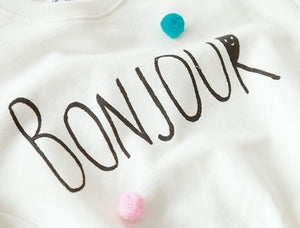 "Beiby Bamboo sweaters White / Mom One Size Mother and Baby White ""Bonjour"" Matching Sweaters"