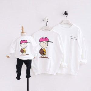 "Beiby Bamboo Sweaters White / Mom S Family Matching Hoodies ""Charlie Brown"" White"