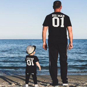 "Beiby Bamboo T-shirt Black / Dad M ""Big Man And Little Man"" Matching T-Shirt"