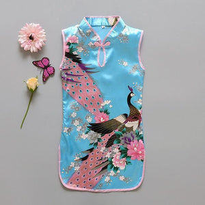 Beiby Bamboo Tangzhuang Blue / 10 Traditional Chinese Style Flower Birds Qipao Dress