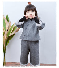 Load image into Gallery viewer, Beiby Bamboo Tangzhuang Gray / 18M-24M Chinese Traditional cheongsam Set For Girls