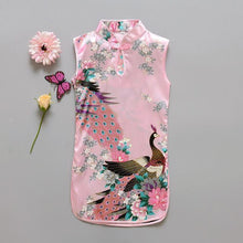 Load image into Gallery viewer, Beiby Bamboo Tangzhuang Light Pink / 10 Traditional Chinese Style Flower Birds Qipao Dress