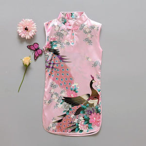 Beiby Bamboo Tangzhuang Light Pink / 10 Traditional Chinese Style Flower Birds Qipao Dress