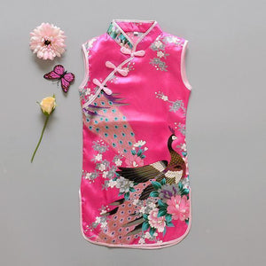 Beiby Bamboo Tangzhuang Pink / 10 Traditional Chinese Style Flower Birds Qipao Dress