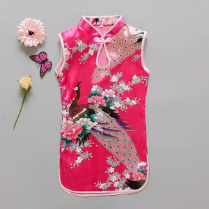 Beiby Bamboo Tangzhuang Pink L / 10 Traditional Chinese Style Flower Birds Qipao Dress
