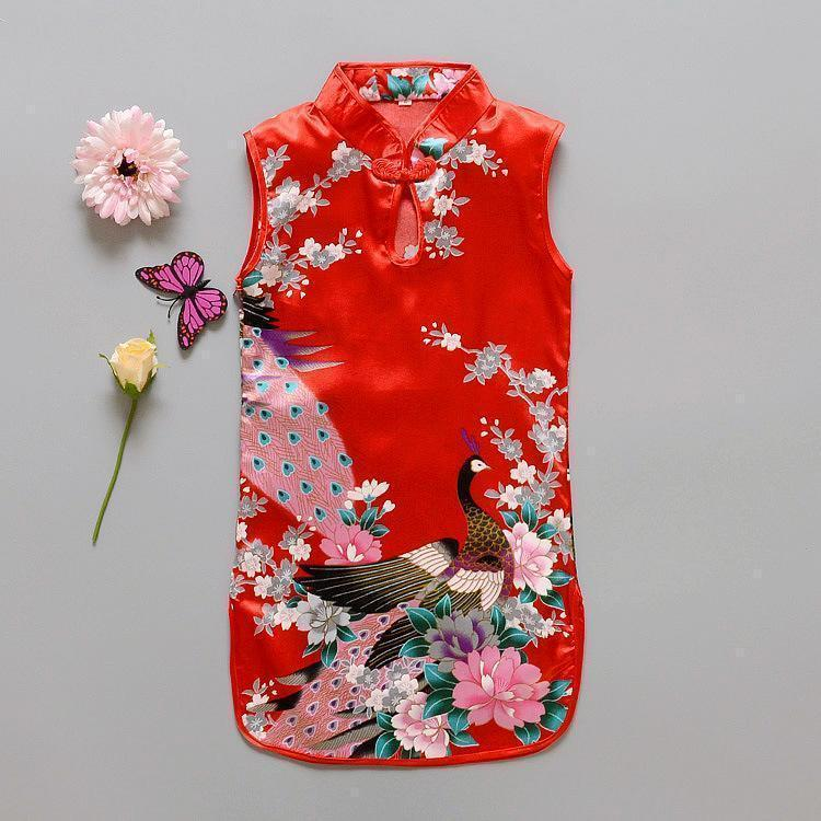 Beiby Bamboo Tangzhuang Red / 10 Traditional Chinese Style Flower Birds Qipao Dress