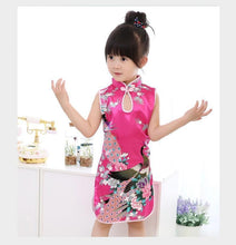 Load image into Gallery viewer, Beiby Bamboo Tangzhuang Red / 10 Traditional Chinese Style Flower Birds Qipao Dress