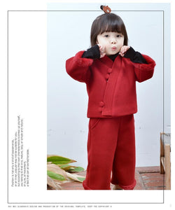 Beiby Bamboo Tangzhuang Red / 18M-24M Chinese Traditional cheongsam Set For Girls