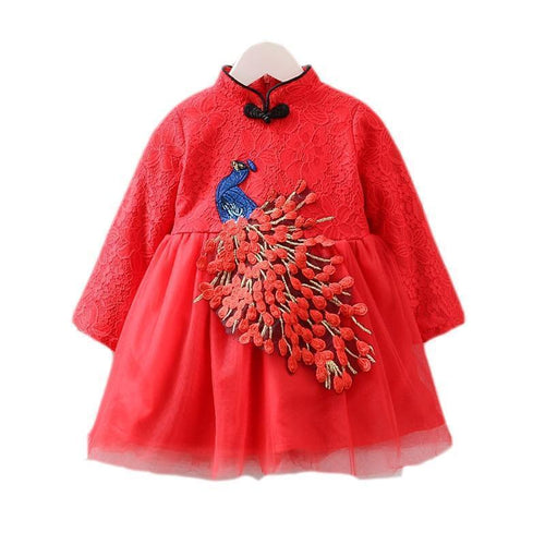 Beiby Bamboo Tangzhuang Red / 4T Cheongsam Traditional Chinese Peacock Dress