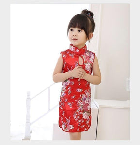 Beiby Bamboo Tangzhuang Red Flower / 2T Traditional Chinese Style Flower Birds Qipao Dress