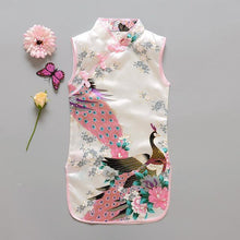 Load image into Gallery viewer, Beiby Bamboo Tangzhuang White / 10 Traditional Chinese Style Flower Birds Qipao Dress