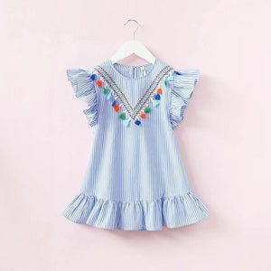 Beiby Bamboo tops 2T Beiby Bamboo Girls Striped Tassel Dress