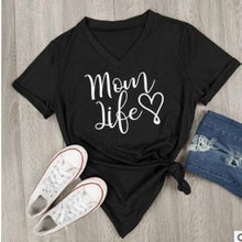 "Load image into Gallery viewer, Beiby Bamboo tops black / S ""Mom Life "" V-Neck Short Sleeve T-shirt"