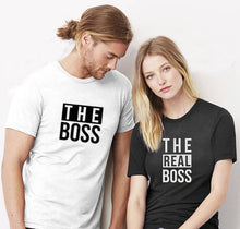 Load image into Gallery viewer, Beiby Bamboo tops MWhite / L Couple Matching T-shirt- Who Is The Real Boss