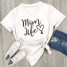 "Load image into Gallery viewer, Beiby Bamboo tops white / S ""Mom Life "" V-Neck Short Sleeve T-shirt"