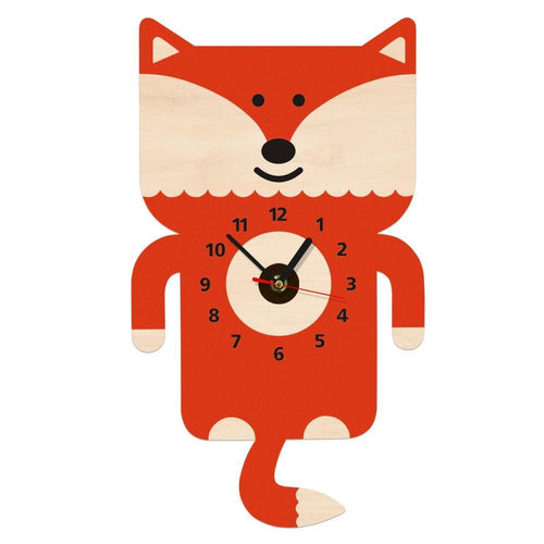 beiby bamboo wall clock Adorable Fox Pendulum Wall Clock With Tail