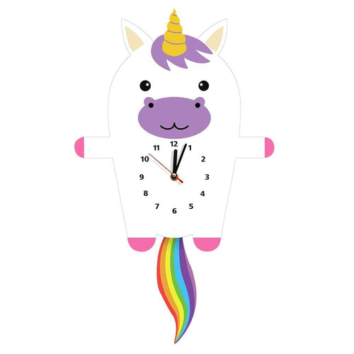 Beiby Bamboo wall clock Magical Unicorn  Pendulum Wall Clock