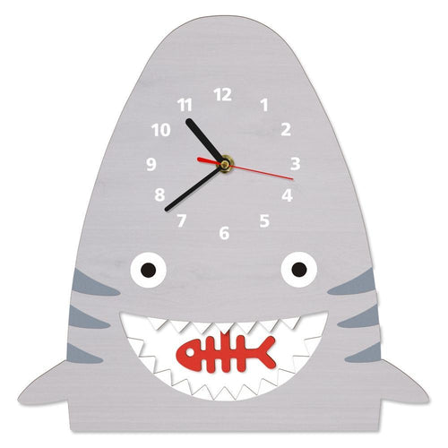 Beiby Bamboo Wood Clock Wood Shark Pendulum Wall Clock For Kids Bedroom