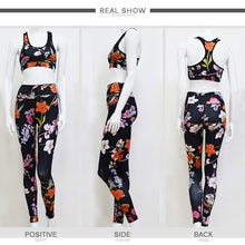 Load image into Gallery viewer, Beiby Bamboo Yoga Set Red / S Flora Yoga 2 Pieces Set Top + High Waist Leggings