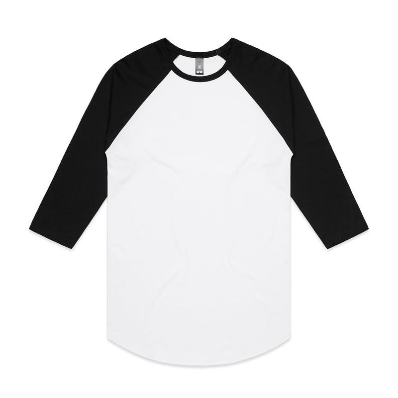 Mens Raglan Tshirt - White/Black