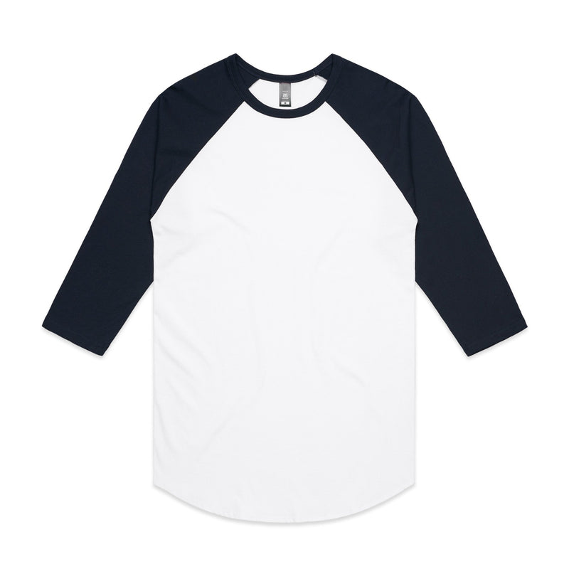 Mens Raglan Tshirt - White/Navy