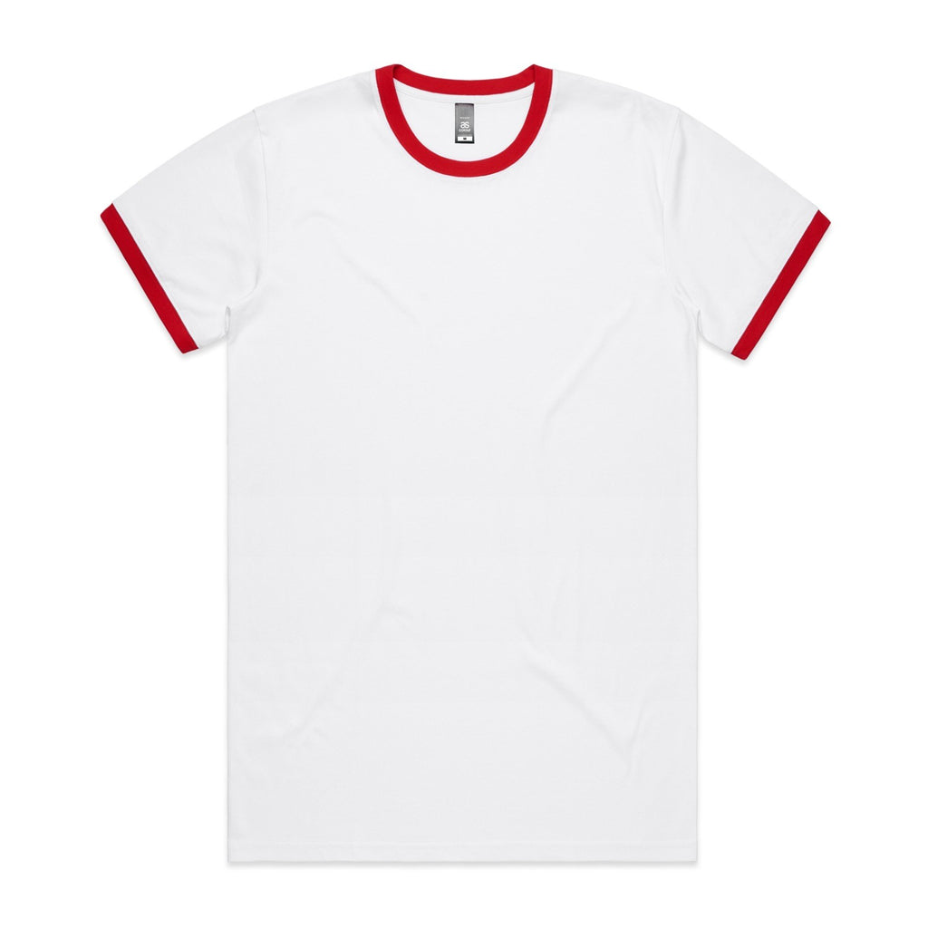 Mens Ringer Tshirt - Red