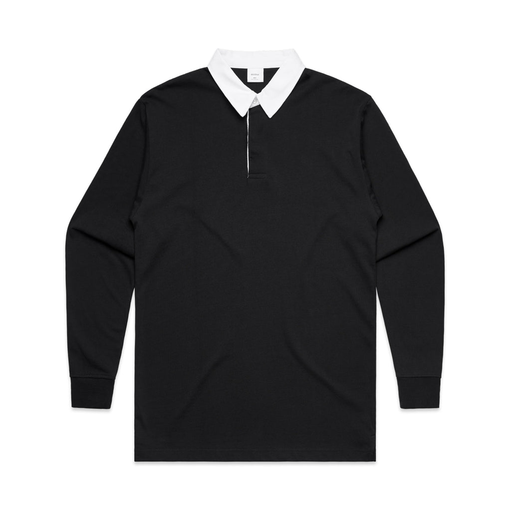Mens Rugby Jersey - Black-Mens Rugby Jersey-The Tshirt Studio