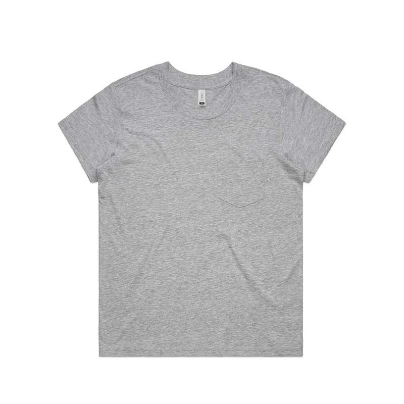 Womens Square Pocket Tshirt - Grey