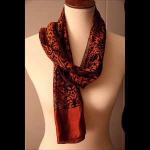 Silk Black & Copper Print Vintage Scarf