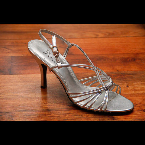 Leather Silver Strappy Vintage Dress Heel (9)